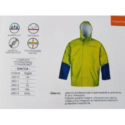 giacca professionale impermeabile e antivento in pvc rinforzato mm.0,65